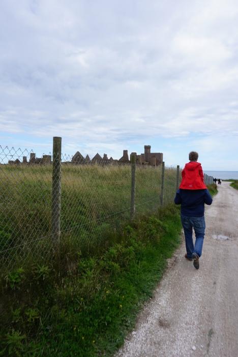 Brooks and Brett walking to New Slains Castle