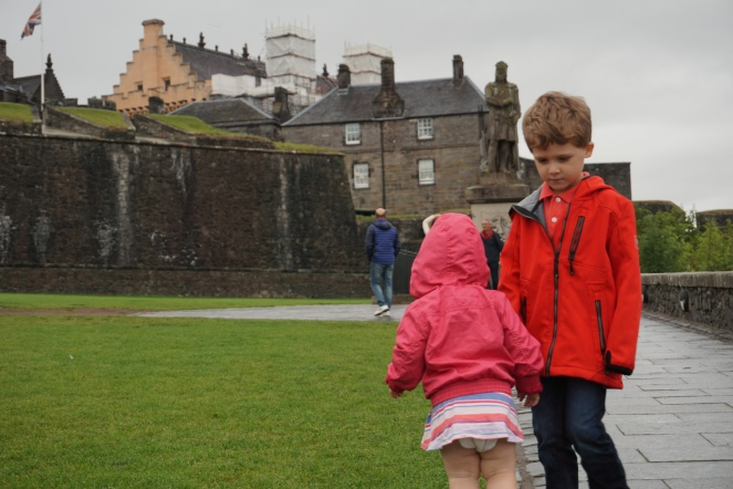 Outside Stirling Castle... also I think Mia's dress shrunk
