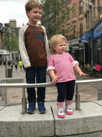 Mia and Brooks in Stirling city centre