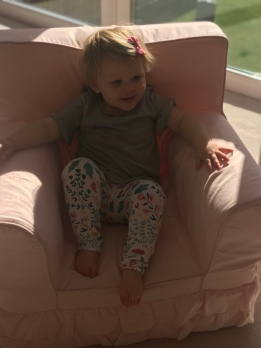 Mia so happy to have her chair back!