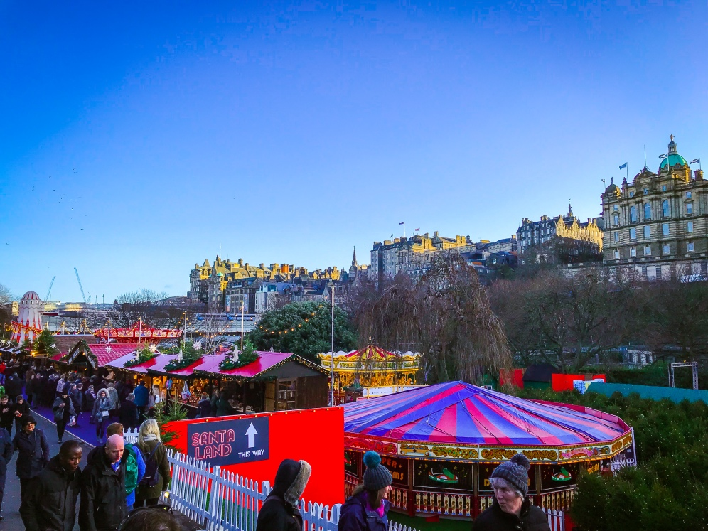 Old Town Edinburgh looking out over the New Town Christmas Market